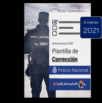 Plantilla de corrección de Conocimientos y Ortografía de Policía Nacional básica. Convocatoria 2020. Fecha de exámen 6 de marzo de 2021